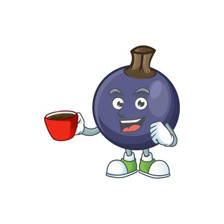 Trinken in der Tasse schwarze Johannisbeere Frucht der Zeichentrickfigur-Form.