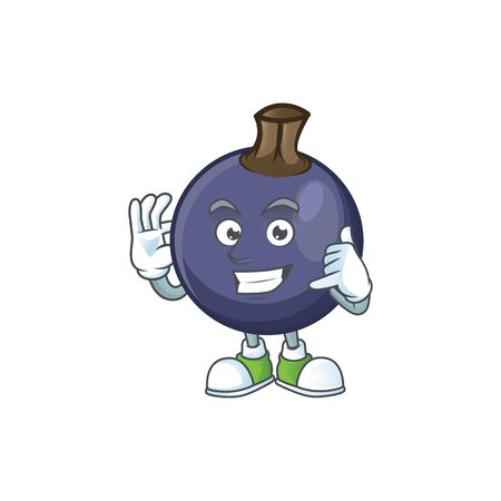 Call me blackcurrant cartoon mascot on white background