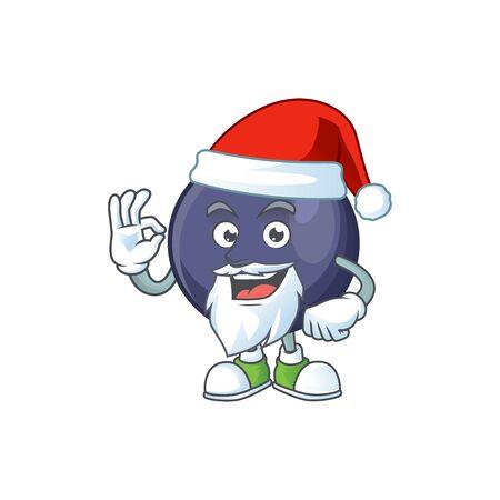 Santa blackcurrant cartoon mascot on white background
