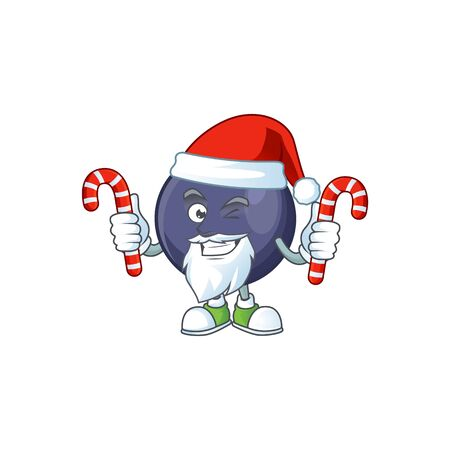 Santa with candy blackcurrant cartoon mascot on white background