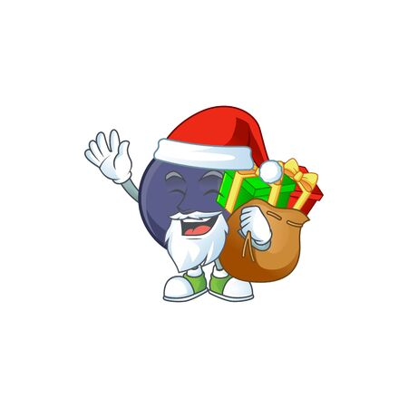 Santa with gift blackcurrant cartoon mascot on white background
