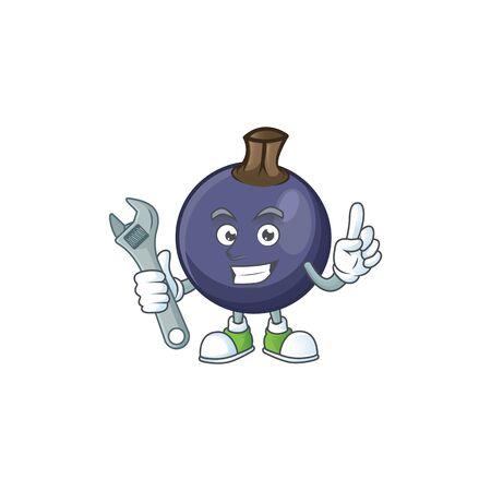 Mechanic blackcurrant cartoon mascot on white background Ilustração