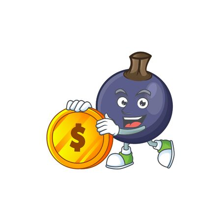 Bring coin blackcurrant cartoon mascot on white background