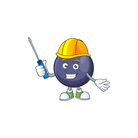 Automotive blackcurrant cartoon mascot on white background Stok Fotoğraf - 129996512