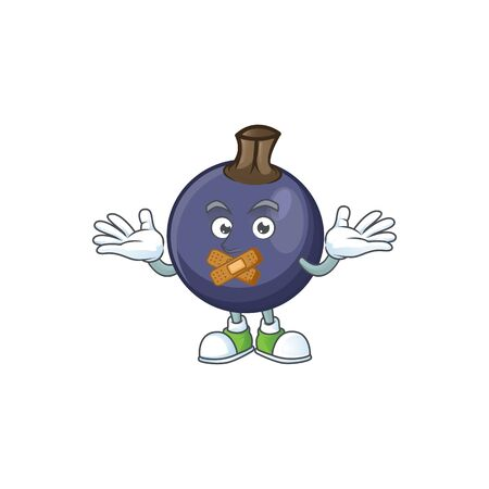 Silent blackcurrant cartoon mascot on white background