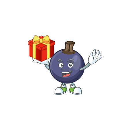 Bring gift blackcurrant cartoon mascot on white background