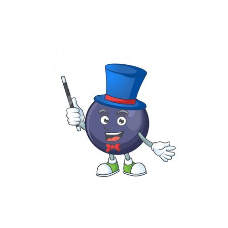 Magician blackcurrant cartoon mascot on white background