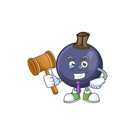 Judge blackcurrant cartoon mascot on white background