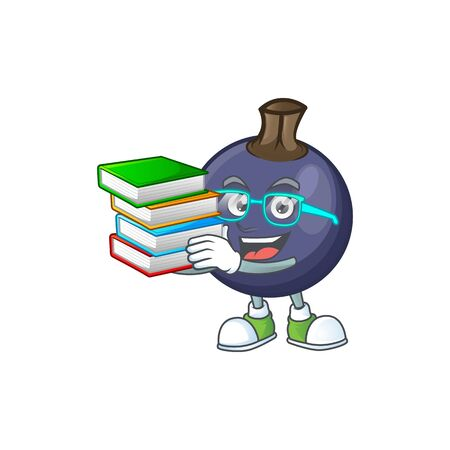 Student with book blackcurrant cartoon mascot on white background