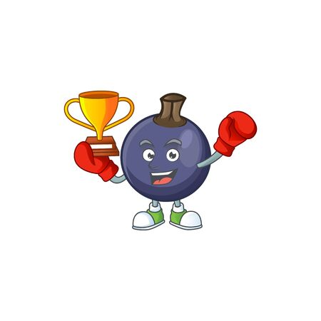Boxing winner blackcurrant cartoon mascot on white background