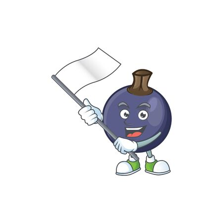 With flag blackcurrant cartoon mascot on white background