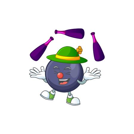 Juggling blackcurrant cartoon mascot on white background