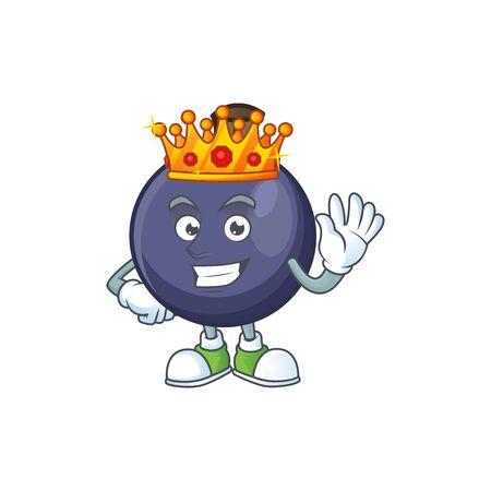 King blackcurrant cartoon mascot on white background