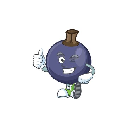 Thumbs up blackcurrant fruit of cartoon character shape. Stok Fotoğraf - 129996466