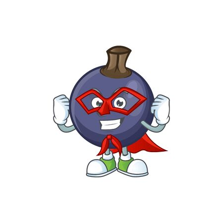 Super hero blackcurrant fruit of cartoon character shape. Ilustração