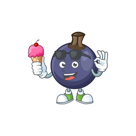 With ice cream blackcurrant fruit of cartoon character shape.