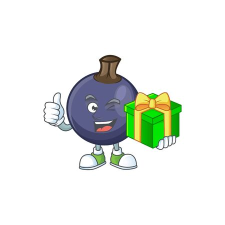 With gift fresh blackcurrant cartoon for healthy diet Illustration