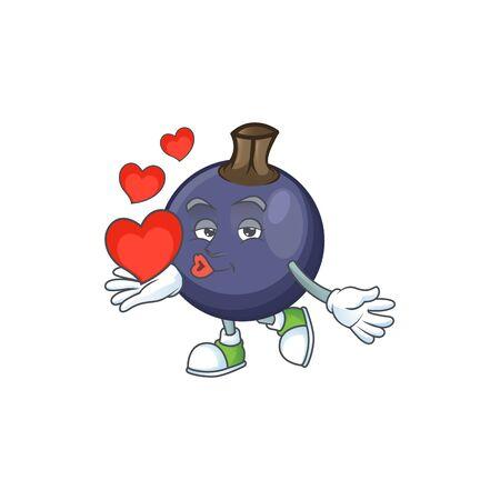 Mit Herz frische schwarze Johannisbeere Cartoon für gesunde Ernährung