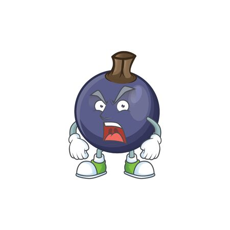Angry fresh blackcurrant cartoon for healthy diet Ilustração