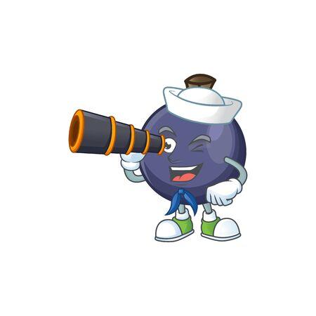 Sailor with binocular fresh blackcurrant cartoon for healthy diet Ilustração