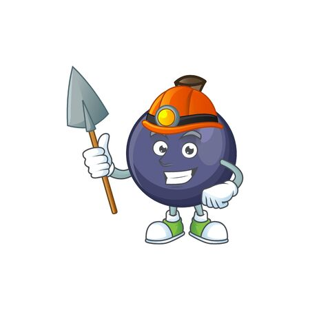 Miner fresh blackcurrant cartoon for healthy diet