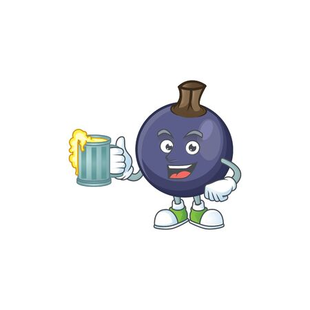 With juice fresh blackcurrant cartoon for healthy diet Stok Fotoğraf - 129996419