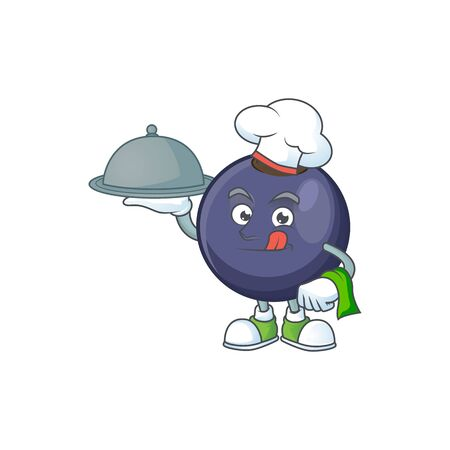 Chef with food fresh blackcurrant cartoon for healthy diet Stok Fotoğraf - 129996421