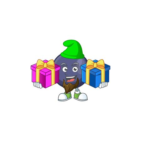 Bring two gifts blackcurrant cartoon mascot on white background Çizim