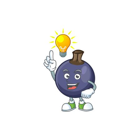 Have an idea blackcurrant cartoon mascot on white background