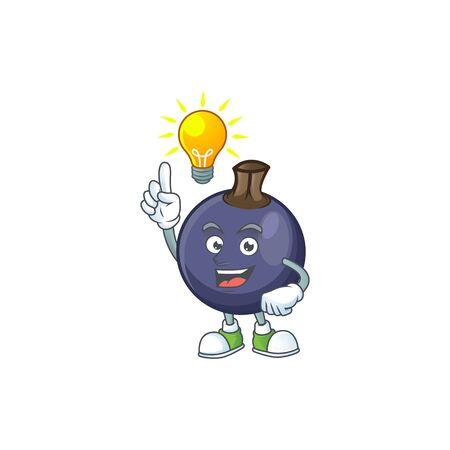 Have an idea blackcurrant cartoon mascot on white background Stok Fotoğraf - 129996443