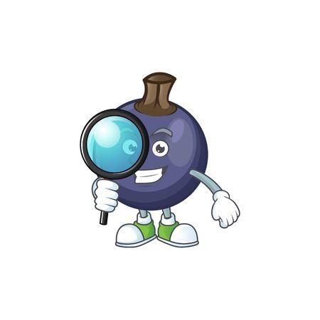 Detective blackcurrant fruit of cartoon character shape. Ilustracja