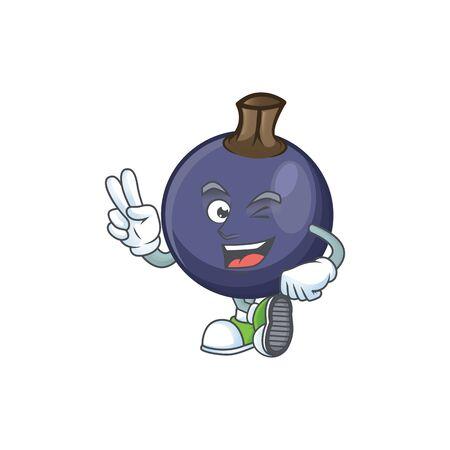 Two finger blackcurrant fruit of cartoon character shape. Stok Fotoğraf - 129996456