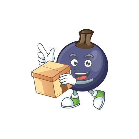 With box blackcurrant fruit of cartoon character shape. Stok Fotoğraf - 129996458