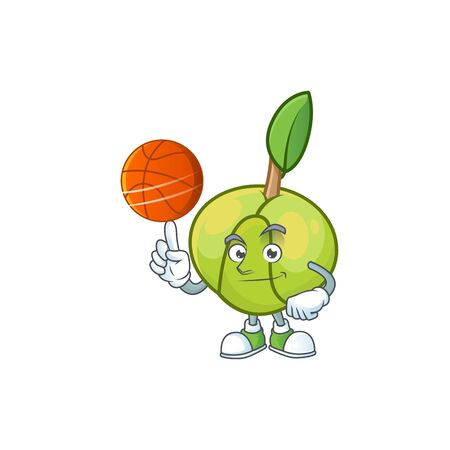 With basketball elephant apple fruit in cartoon character