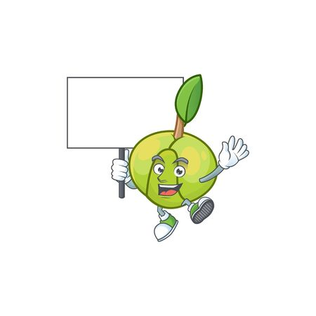 Bring board elephant apple fruit in cartoon character