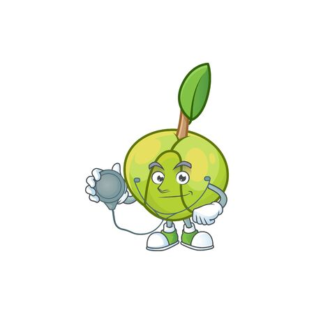 Doctor elephant apple fruit in cartoon character  イラスト・ベクター素材