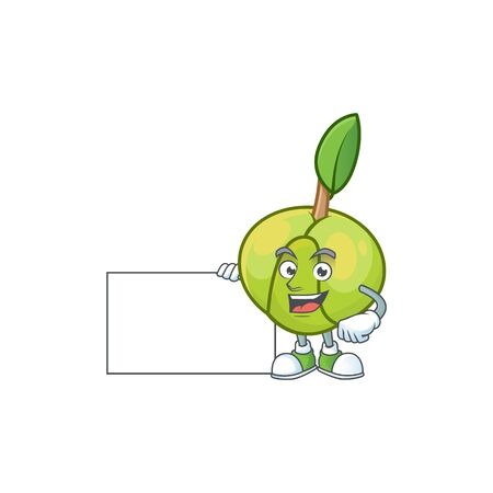 Thumbs up with board elephant apple fruit in cartoon character