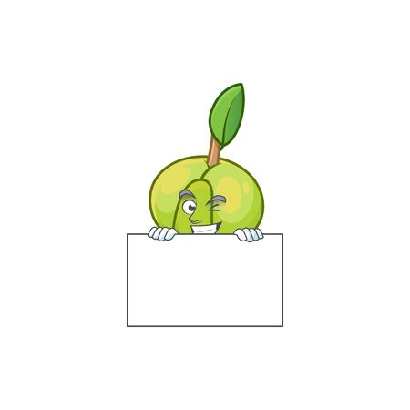 Grinning with board elephant apple fruit in cartoon character