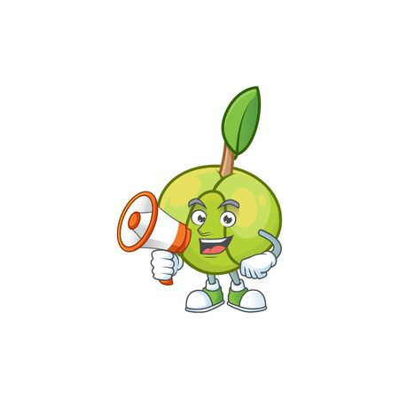With megaphone elephant apple fruit in cartoon character