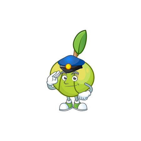 Police elephant apple fruit in cartoon character  イラスト・ベクター素材