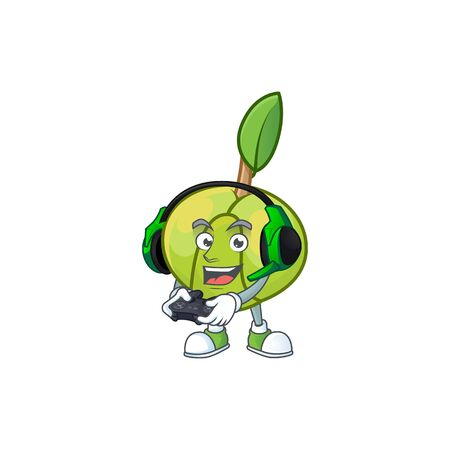 Gaming elephant apple fruit in cartoon character