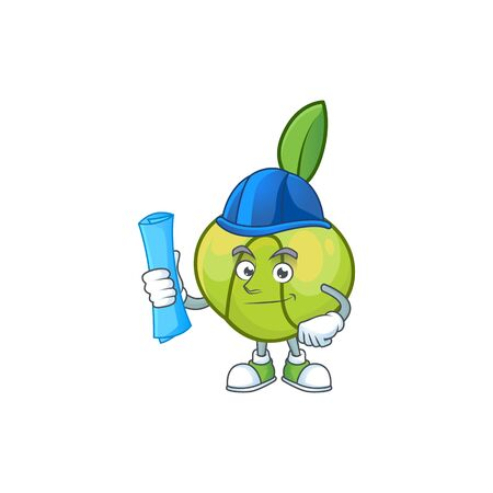 Architect sweet elephant apple cartoon with mascot