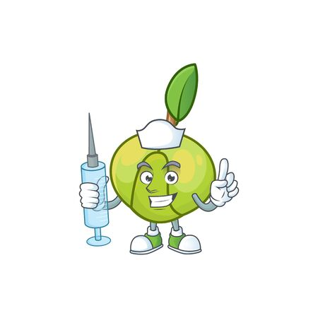 Nurse sweet elephant apple cartoon with mascot  イラスト・ベクター素材