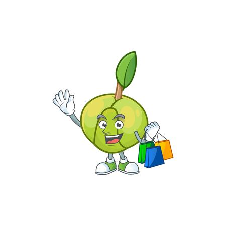 Shopping sweet elephant apple cartoon with mascot