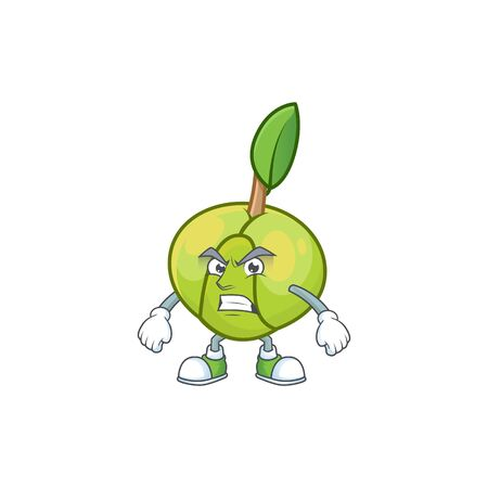 Angry sweet elephant apple cartoon with mascot