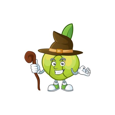 Witch elephant apple cartoon on white background