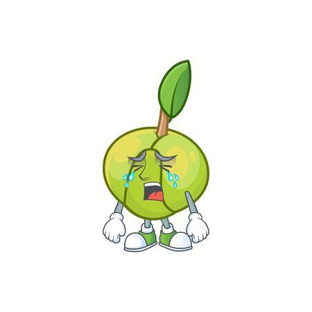 Crying elephant apple cartoon on white background
