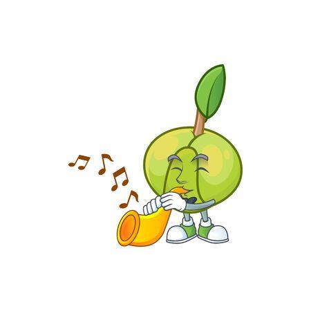 With trumpet elephant apple cartoon on white background