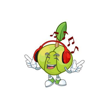 Listening music elephant apple cartoon on white background