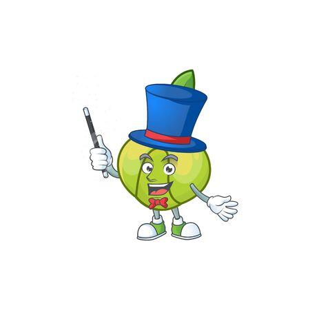 Magician fruit elephant apple cartoon mascot style Ilustração
